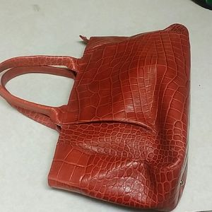 Furla croc embossed leather  red tote